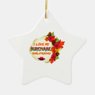 Burkinabe Girlfriend designs Double-Sided Star Ceramic Christmas Ornament