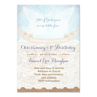 Burlap 1st Birthday and Christening Party for boy Card