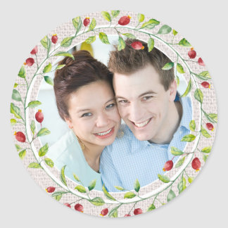 Burlap and Berries Country Floral Photo Template Classic Round Sticker