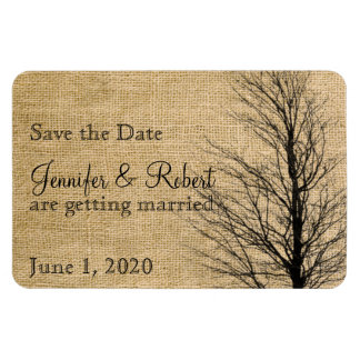 Burlap and Birch Posh Wedding Save the Date Magnet