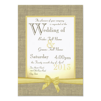 Burlap and Bow 5x7 Yellow Country Wedding Card