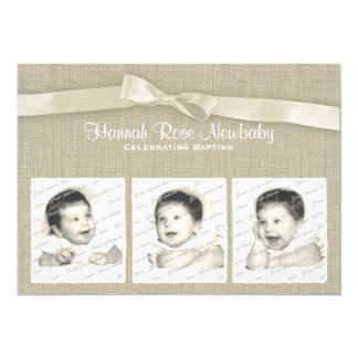 Burlap and Bow Baptism with Photos 13 Cm X 18 Cm Invitation Card