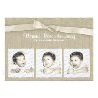 Burlap and Bow Baptism with Photos Custom Invites