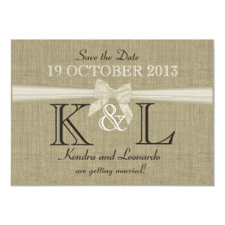 Burlap and Bow Country Save the Date 11 Cm X 16 Cm Invitation Card