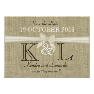 Burlap and Bow Country Save the Date Personalized Announcement