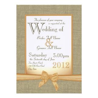 Burlap and Bow Orange Country Wedding Invite