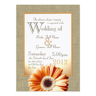 Burlap and Bow Orange Gerbera Daisy Wedding Card