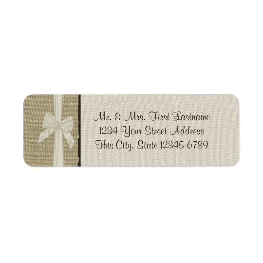 Burlap and Bow Rustic Country Return Address Label