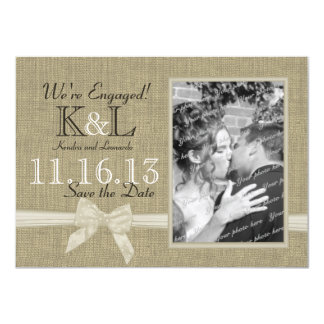 Burlap and Bow Rustic Country Save the Date 11 Cm X 16 Cm Invitation Card