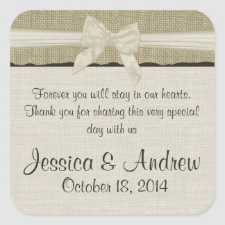 Burlap and Bow Rustic Country Square Sticker