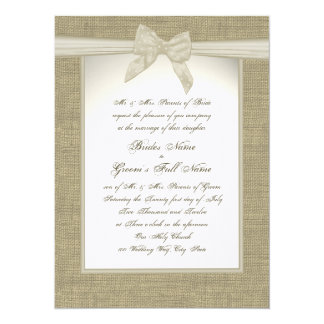 Burlap and Bow Rustic Wedding Card