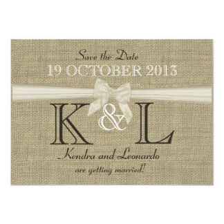 Burlap and Bow Save the Date 11 Cm X 16 Cm Invitation Card