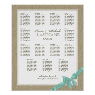 Burlap and Bow Wedding Seating Chart