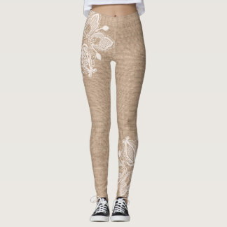Burlap and Floral Lace Legging