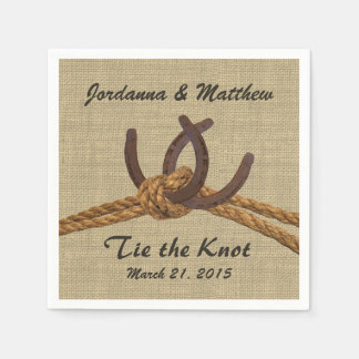Burlap and Horseshoes Disposable Napkin