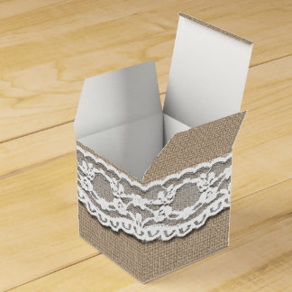 Burlap and Lace Art Favor Box Favour Box
