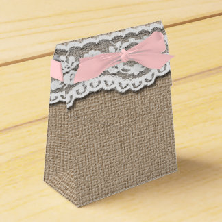 Burlap and Lace Art Tent Favor Box Favour Boxes