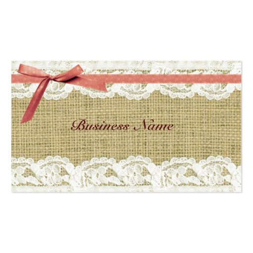 Burlap and Lace Beige Pink Bow shabby chic Business Card Template