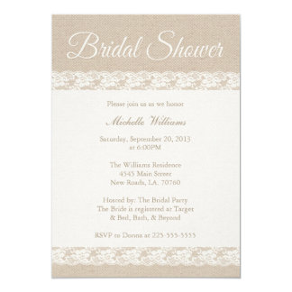 Burlap and Lace | Bridal Shower 13 Cm X 18 Cm Invitation Card