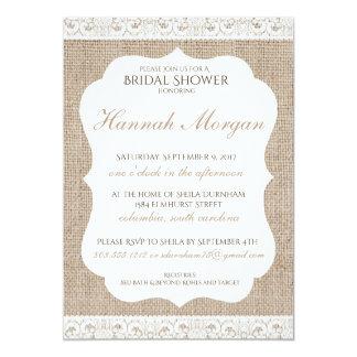 Burlap and Lace Bridal Shower Invitation 5x7