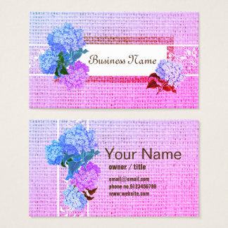 burlap and lace Burlap Barn Hydrange business card
