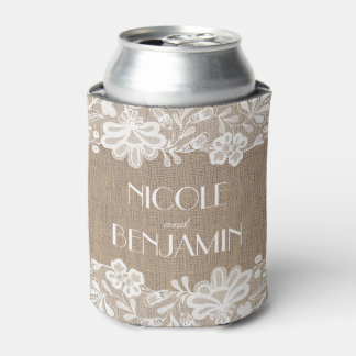 Burlap and Lace Elegant Vintage Wedding Can Cooler
