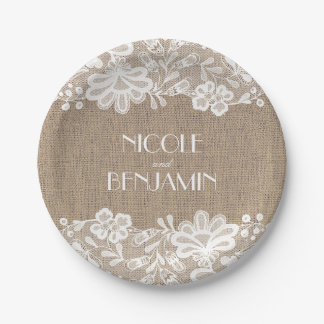 Burlap and Lace Floral Elegant Wedding Paper Plate