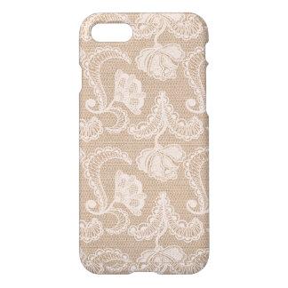 Burlap and Lace Floral iPhone Case