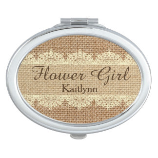 Burlap and Lace Flower Girl Custom Compact Mirror