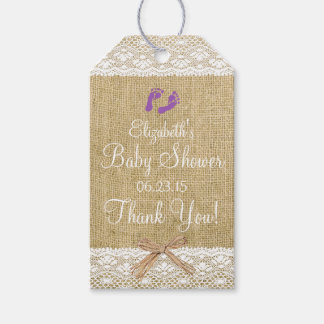 Burlap and Lace Image- Purple Baby Shower Gift Tags