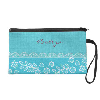 Burlap and Lace Pattern Wristlet Gift for Her