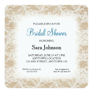 Burlap and Lace Personalized Bridal Shower Card