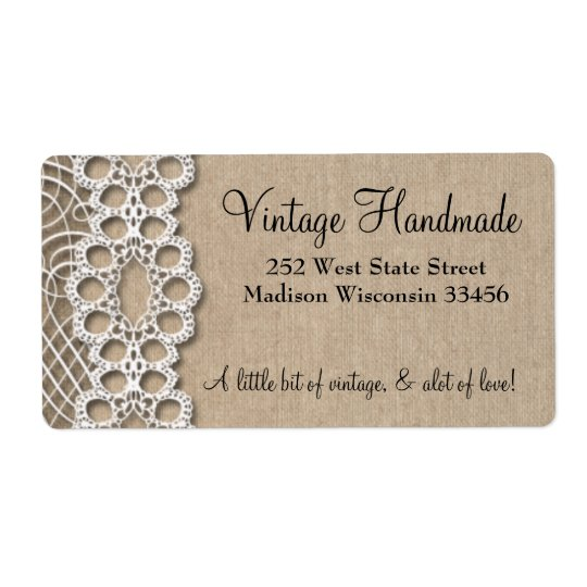 Burlap and  Lace Rustic Address Labels