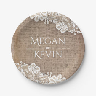 Burlap and Lace Rustic Country Wedding 7 Inch Paper Plate