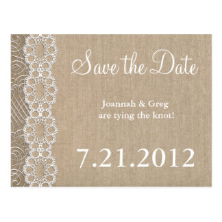 Burlap and Lace Rustic Save the Date Post Card