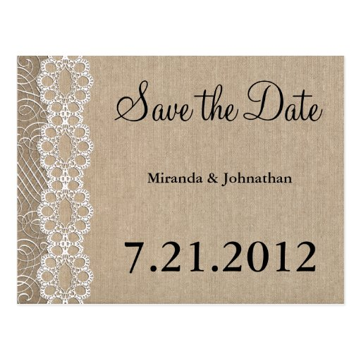 Burlap and Lace Rustic Save the Date Postcard