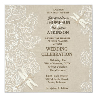 Burlap and Lace Rustic Wedding Invitation