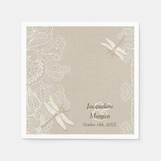 Burlap and Lace Rustic Wedding  Napkins Disposable Serviettes