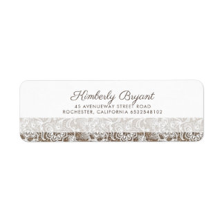 Burlap and Lace Rustic Wedding Return Address Label