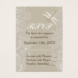 Burlap and Lace Rustic Wedding RSVP Business Card