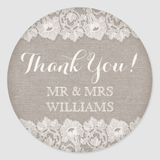 Burlap and lace rustic wedding thank you stickers