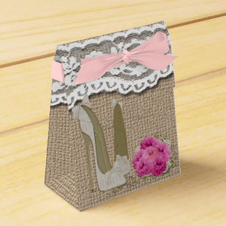 Burlap and Lace Stiletto Art Tent Favor Box Party Favour Box