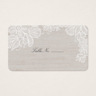 Burlap and Lace Table Place Card