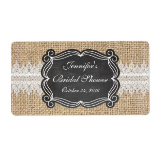 Burlap and Lace Water Bottle Label