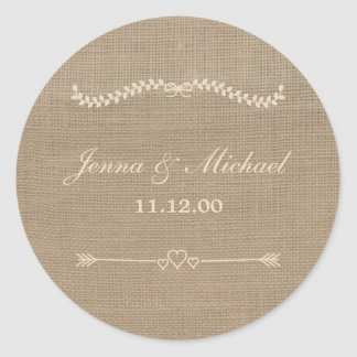 Burlap and Lace wedding envelope round seal Round Sticker