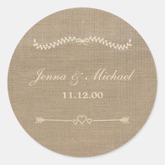 Burlap and Lace wedding envelope round seal Round Sticker