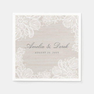 Burlap and Lace Wedding Paper Napkins