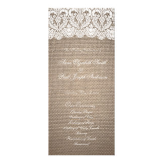 Burlap and Lace Wedding Program Rack Card Template