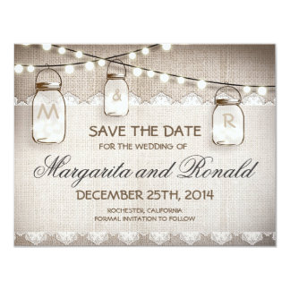 burlap and mason jar save the date cards