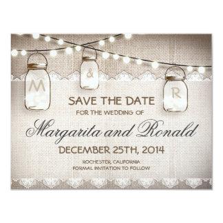 burlap and mason jar save the date cards 11 cm x 14 cm invitation card